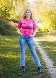 Roze t-shirt I Love Tractors & Bier