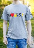 Grijs T-shirt I Love Shovels & Bier - Agri Trader kleding