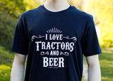 Zwart T-shirt I love Tractors & Bier met bieropener